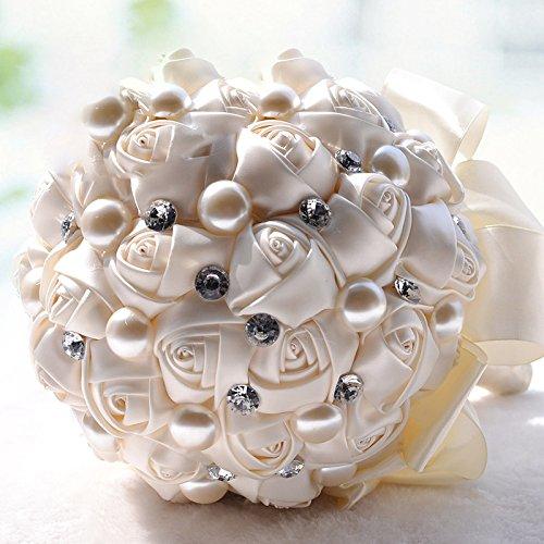 JHDH2-Bouquet sposa coreano nastro gettare fiori strass perle simulate a mano bouquet,Bianco latte