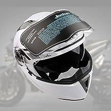 Lente Dual Flip Up Casco Delantero de La Motocicleta (XXL, Blanco)