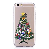 Iphone 6 Soft Silicone Case, Christmas Phone Case for Iphone 6S, Christmas Tree Pattern Ultra Slim Fit Clear Transparent Back Cover Bumper Rubber Gel Protective Shell for iphone 6 / iphone 6S