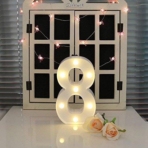 oamore LED Alphabet Licht Brief Dekorative Lampe Licht LED Weiß Beleuchtete Buchstaben und Zahlen für Geburtstag Hochzeit Bar Wandbehang Dekor (8)