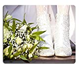Liili Mouse Pad Natural Rubber Mousepad Feet of bride in in white boots next to a bouquet IMAGE ID 18594637