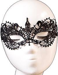 Qsoleil Gótica Mariposa Lolita Máscara de Fantasía Máscara de Encaje–Negro