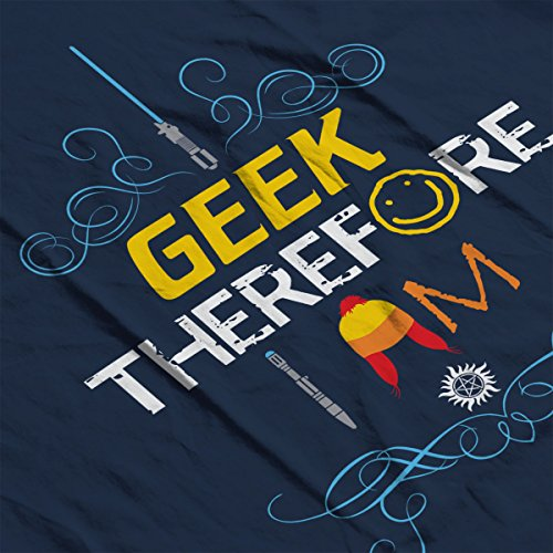 I Geek Therefore I Am Sci Fi Women's T-Shirt Navy Blue