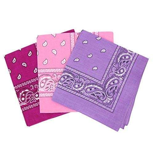 Set 3 bandanas paisley damen und herren fucsia, rosa, lila 57x57cm