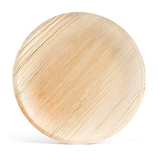 HANTERMANN Premium Palmblatt Teller rund   Einwegteller   Bio Einweg Geschirr   Palmblattgeschirr   100 Stück   Ø 25 cm   100% biologisch abbaubar, kompostierbar   umweltfreundlich und stilvoll