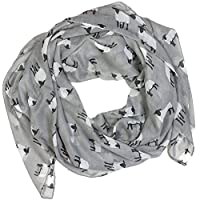 Sheep Print Design Scarves for Women Lightweight Large Size Scarf (Silver Grey)