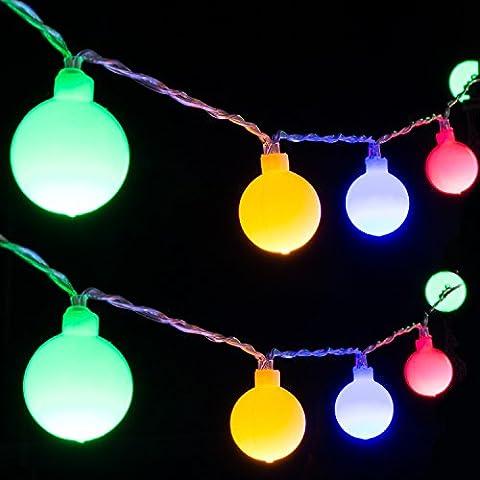 Led Globe Lichterkette,40LEDs 4M/13Ft LED Lichterkette Bunt 3 x AA Batteriebetrieben Led Beleuchtung mit 2 Modus für Christmas,Garten,Party Weihnachtsbaum Dekoration.(Batterie ist nicht enthalten)