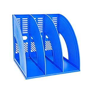 Desk File Organiser,SAYEEC Top Quality Sturdy Desktop Triplicate Magazine Plastic Holders Frames File Dividers Document Cabinet Rack Display and Storage Organiser Box Blue