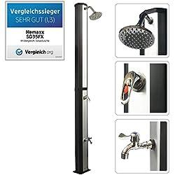 Nemaxx SD35FX Douche Solaire - Noir - Douche de Jardin avec réservoir d'eau résistant aux UV de 35 litres - avec Douche/Robinet de Pied et Douche de Pluie réglable