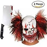 Horror Clown Grusel Maske, Halloween Masken Herren, Schädel Skelett Teufel Dämon Zombie Maske mit Haaren, Deluxe Kostüm mit Gruseligem Messer Hackmesser