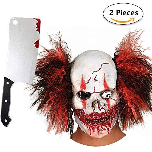 Horror Clown Grusel Maske, Halloween Masken Herren, Schädel Skelett Teufel Dämon Zombie Maske mit Haaren, Deluxe Kostüm mit Gruseligem Messer ()
