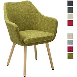 Silla de comedor de tela (lino) o de cuero sintético mostaza amarillo diseño retro verde sillón con brazos silla tapizada vintage con patas de madera seleccion de color Duhome WY-8021D