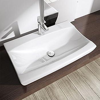 Durovin Modern Slim Countertop Wash Basin Shelf Mounted Gloss Contemporary Bathroom  Sink 485 x 105 x 320mm (Basin Only)