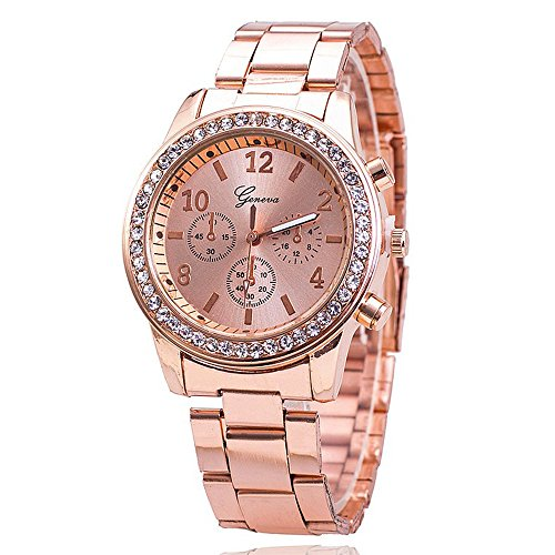 Yogogo Damen Chronograph Quartz Analog Armbanduhr , 1 Cent Artikel | Metall Band | Kristalle | Dekoration | Geschenk | Alugehäuse | Quarzwerk | 18mm Bandbreite | 40mm Gehäusedurchmesser (Rosengold)