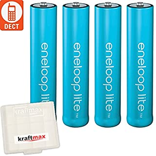 kraftmax 4er-Pack Panasonic Eneloop LITE AAA Akkus - speziell für schnurlose Telefone/DECT Telefon - 4X Micro Akku Batterien Akkubox