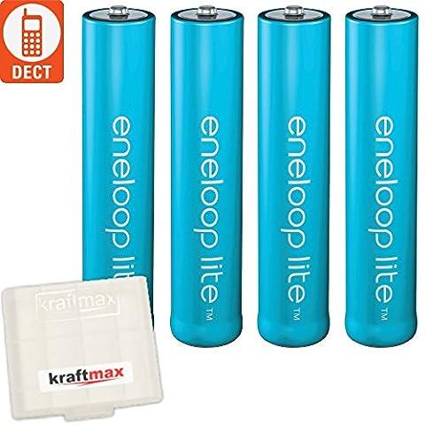 Kraftmax 4er-Pack Panasonic Eneloop LITE AAA Akkus - speziell für schnurlose Telefone / DECT Telefon - 4x Micro Akku Batterien in Kraftmax Akkubox