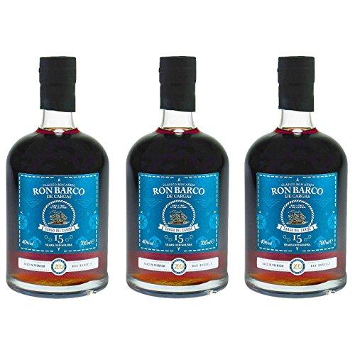 Ron Barco - De Cargas 15 Jahre Guatemala Rum 40% Vol. - (3x 0,7l)   Set inkl. lukky24® Schlüsselanhänger für Einkaufswagenchip