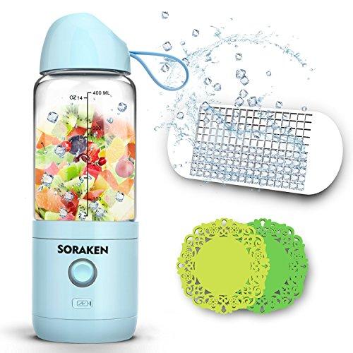 Smoothie Maker, Smoothie Mixer, Multifunctional Mixer Hochleistungsmixer für Shakes und Smoothies, kleine Smothie-maker USB wiederaufladbare Mini Blender mit Eiswürfelschale, zwei Silikon Cup Mats und Rezept (FDA und BPA frei)