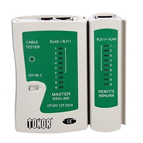 Tonor Testeur de Network/Réseau/Câble RJ45 RJ11 RJ12 CAT5 CAT6 UTP LAN Outil de Test avec l'Affichage Led