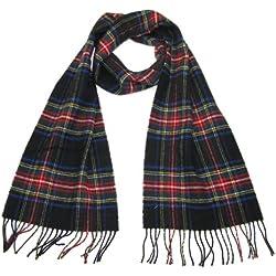 Lovarzi - Bufanda negra stewart - invierno bufandas para hombres y mujeres - pura lana tartán escocés bufandas de lana tartán