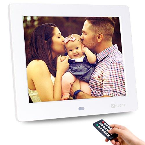 ARZOPA Digitaler Bilderrahmen 8-Zoll,1024x768 HD Widescreen Fotorahmen Unterstützung USB SD und Multi-Format, Video Musik Foto E-Book Wiedergabe, Uhr Kalender Alarm mit Fernbedienung Hi-definition-digital-video