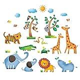 Decowall DS-8016 Dschungeltiere Wilde Dschungel Tiere Wandtattoo Wandsticker Wandaufkleber Wanddeko für Wohnzimmer Schlafzimmer Kinderzimmer (Klein)