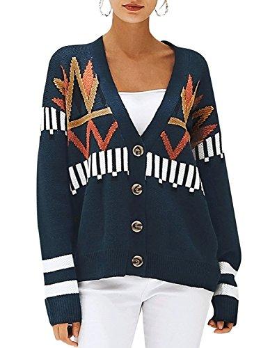 Melegant Damen Strickjacke Elegant Langarm V Ausschnitt Pullover Oversize mit Muster Cardigan Oberteile Blau (Damen-fair-isle-strickjacke-pullover)