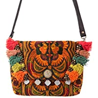c0e8007169 Changnoi One of a Kind Fair Trade Women s Crossbody Bag with Hmong Hill  Tribe Embroidered in