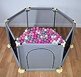Baby Laufgitter Bällebad mit 200 Bälle Netz Absperrgitter Laufstall Krabbelgitter Kinder Schutzgitter mit Tür (Grau)