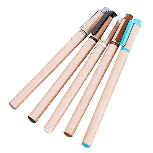 Foto de Drawihi 5PCS Pluma verde del color del tubo de papel de Kraft Pluma de gel creativo nostálgico retro Lapiceras de carbono longitud: 15cm