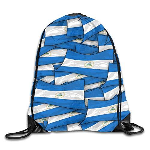 Naiyin Nicaragua Flag Wave Collage Drawstring Backpack Bag Rucksack Shoulder Sackpack Sport Gym Yoga Runner Beach Hiking Dance Collage Fleece