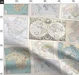 Landkarten, Pastell, Schummler Stoff, Petrol Stoffe -