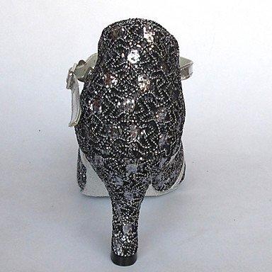 Scarpe da ballo - Disponibile su misura - Donna - Latinoamericano / Sala da ballo - Customized Heel - Eco-pelle / Glitter - Argento Red