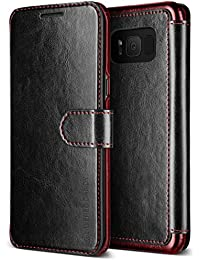 Samsung Galaxy S8 Case, VRS Design® [Black] High Quality PU Leather Case [Layered Dandy] Flip Wallet Cover with 3 Card Slots for Galaxy S8 (2017)