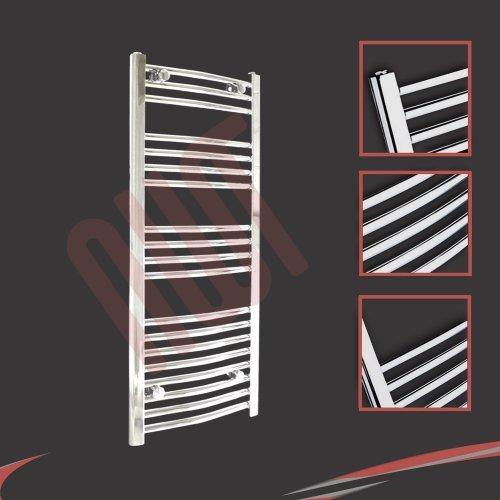 500mm (w) x 1000mm (h) - Radiateur sèche-serviettes incurvé chromé Barre Horizontale Diamètre: 22mm, Bar Modèle: 3 + 4 + 4 + 8
