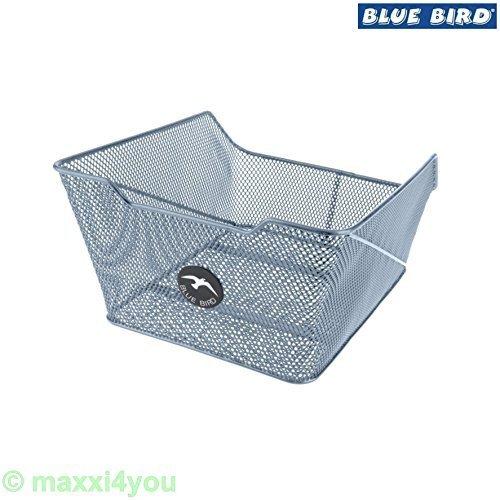 Blue Bird 01170220-Si Fahrradkorb Schultaschenkorb XXL silber mit Befestigungsmat.