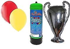 Idea Regalo - kit TIFOSO ROMA palloncino gigante CHAMPIONS 70 cm con BOMBOLA gas elio e 30 palloncini gialli e Rossi