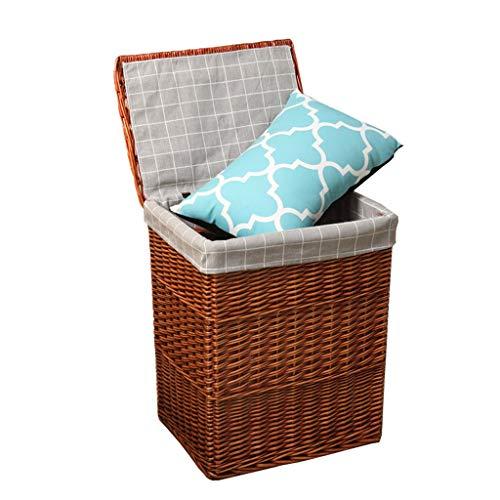 HU Weidenspeicherkorb, Hauptdreckige Kleidung/Spielwaren/Kleinigkeiten Speicher Basketful mit Deckel, für Schlafzimmer/Toilette mehrfache Farbe (Color : Brown, Size : Small)