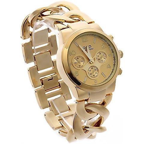 G & D Orologio da donna catena intrecciata in metallo braccialetto oro