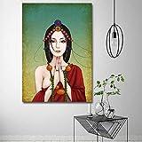 WDZSHJ Bilder Auf Leinwand,Buddha Leinwand Malerei Wand Kunst Bilder Für Wohnzimmer Home Decor Poster Und Drucke, 70 X 100 cm Ohne Rahmen