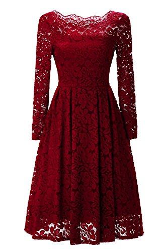 Gigileer 50s Damen Kleider Spitzenkleid Schulterfrei Langarm knielang festlich Cocktail Abendkleid Rot M