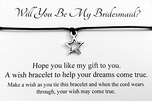 Will You Be My Bridesmaid? Wedding STAR Charm Wish Bracelet Card Gift Bag Friendship charmed Bracelet Party Favour(Hand made in UK) (Black)