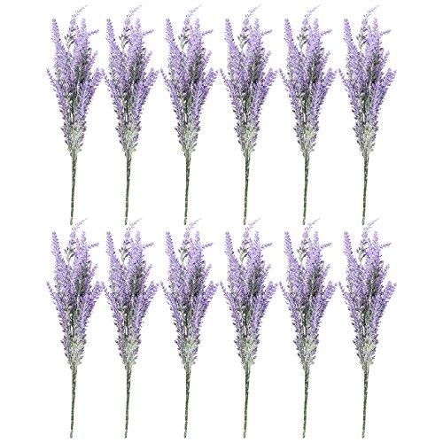 Lavendel Blumen Bulk (Juvale Künstlicher Lavendel Blumen-12Bündel Lavender Bouquet in Lila-Fake Blumen Künstliche Pflanze für Home Décor, Hochzeit, Party, Terrasse)