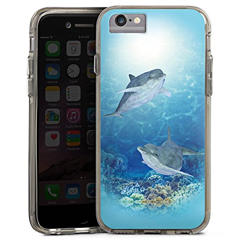 Apple iPhone 7 Bumper Hülle Bumper Case Glitzer Hülle Happy Dolphins Delfin Ocean Bumper Case transparent grau