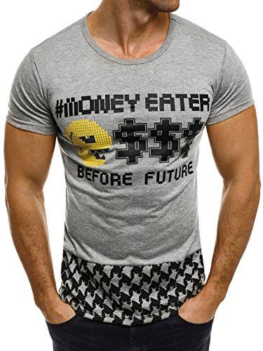 OZONEE uomo maglietta con motivo Manica Corta Girocollo Che fa risaltare la figura J.STYLE SS010 grigio_J.STYLE-SS017