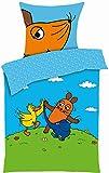Aminata Kids - Kinder-Bettwäsche 135x200 cm Sendung mit der Maus Ente blauer Elefant hell-blau grün-e 100-% Baumwolle grün cool-e kuschelig-e Jugend-liche zwei-farbig-e Decken-Bezug Linon Bett-Bezüge Lizenz-Bettwäsche