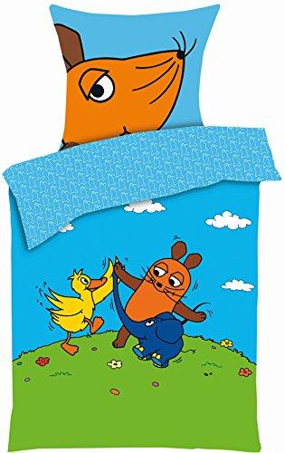 Aminata Kids - Kinder-Bettwäsche 135x200 cm Sendung mit der Maus Ente Blauer Elefant hell-blau Gruen-e 100-% Baumwolle -e Zwei-farbig-e Decken-Bezug Linon Bett-Bezüge Lizenz-Bettwäsche -