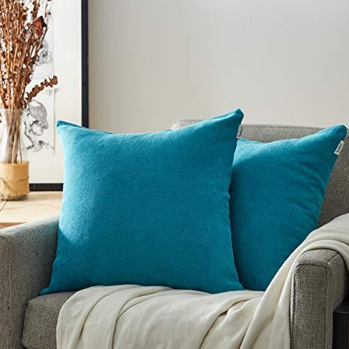 Topfinel federe cuscini coperture comode ciniglia per divano decorativi letto cuscini decorativi casa copricuscino federe colore solido 2 pezzi, 45x45 cm turchese