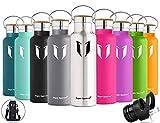 Super Sparrow Trinkflasche Edelstahl Wasserflasche - 750ml - Isolier Flasche mit 100%-Zufriedenheitsgarantie | Perfekte Thermosflasche für das Laufen, Fitness, Yoga, Im Freien und Camping, Auto oder Unterwegs | Frei von BPA | Ideal als Wasser- & Sportflasche - mit 2 auswechselbaren Kappen (Edelstahl, 25oz-750ml)