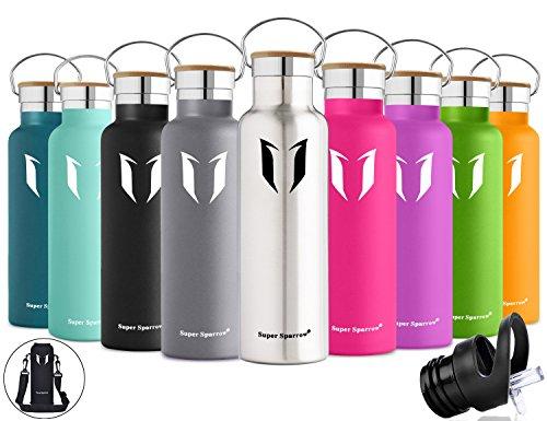 Super Sparrow Trinkflasche Edelstahl Wasserflasche - 750ml - Isolier Flasche mit 100%-Zufriedenheitsgarantie | Perfekte Thermosflasche für das Laufen, Fitness, Yoga, Im Freien und Camping, Auto oder Unterwegs | Frei von BPA | Ideal als Wasser- & Sportflasche - mit 2 auswechselbaren Kappen (Edelstahl, 25oz-750ml) (Große Kappe)